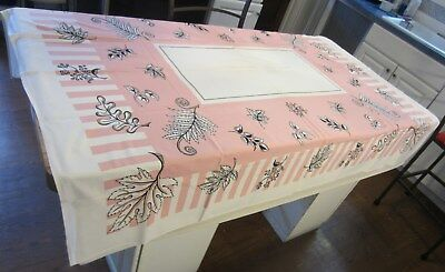 """Vintage 1940s/50s Pink White Printed Cotton Tablecloth Leaves Stripes 60"""" x 52"""""""