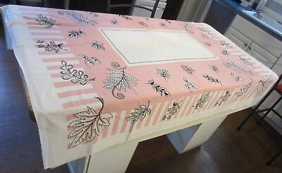 "Vtg 1940s/50s Pink White Printed Cotton Tablecloth Leaves Stripes 60"" x 52"""