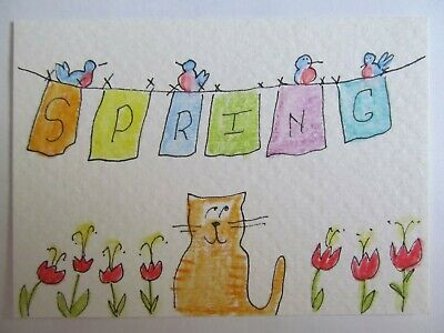 ACEO Original Watercolor Cat Birds Flowers Spring Has Sprung Signed by MiloLee