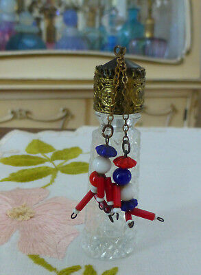 Antique 1930s IRICE Mini Czech Perfume Bottle w Bead Figure Charms Dangles RARE!