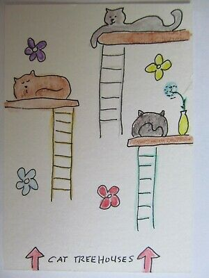ACEO Original Watercolor Cat Treehouse Ladder Kittys Signed by Artist MiloLee