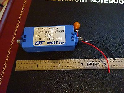 RF MICROWAVE FREQUENCY AMPLIFIER 18 GHz CTT APO/1180-2217-39 AS IS BIN#X9-96