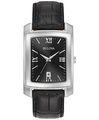 Bulova Quartz Black Dial Black Leather Strap Men's Watch 96B269