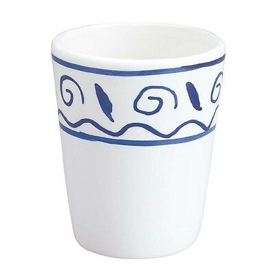 Bathroom Cup Tumbler White & Blue Nepture Ceramic | Renovator's Supply