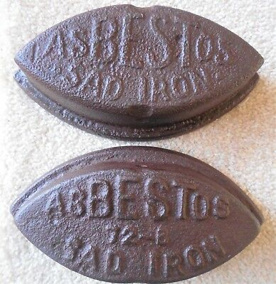 "2 Cast Iron Asbestos SAD irons Old Primitive Door Stopper No Handle 6"" Long"