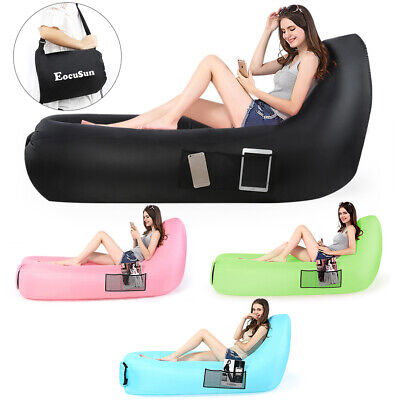 Thick Inflatable Lounger Sleeping Bag Air Couch Lazy Chair AirBed Beach Sofa Bed