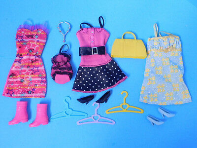 Barbie Doll Dress Outfit Lot 3 Dresses Shoes Purses and Accessory  Lot 11