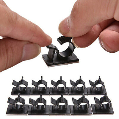 10Pcs Adhesive Backed Nylon Adjustable Cable Clips 16mm Wire Clamps Organizers