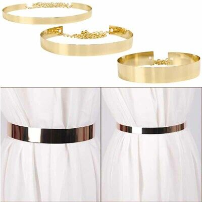 Lady Waistband Plate Hot Chains Waist Vogue Metal Belt Mirror Wide Gold Band