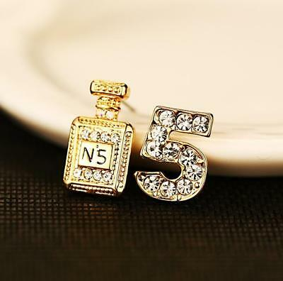 Classic Ladies 18K Gold Plated Perfume Bottle Stud Earrings