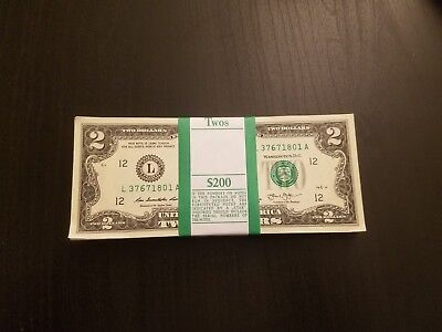 NEW Uncirculated (5) Two Dollar Bill Crisp $2 Sequential Note Lot 2013