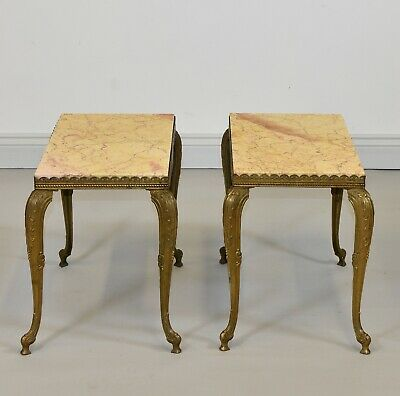 PAIR of 1950s QUALITY MARBLE TOP BRASS SIDE TABLES Vintage Bedside