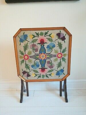 Vintage Fire Screen Wood tapestry flowers and leaves