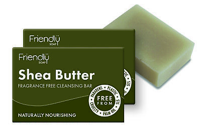 Friendly Soap Shea Butter Fragrance Free Facial Cleansing Soap 95g Twin Pack
