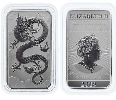 2019 Dragon 1oz .9999 Silver Bullion Rectangular Coin in Capsule - Perth Mint