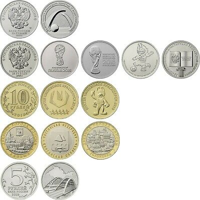 ✔ Russland 5 10 25 rubles Universiade 2018 FIFA 2019 Crimea Leningrad 11 Pc UNC