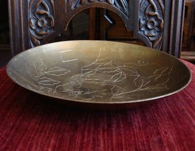"Genuine ANTIQUE 1900s CHINESE 10"" BRASS Serving Bowl Incised WOMAN/ Lady CHINA"