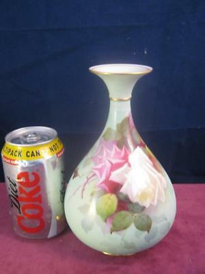 Stunning Rare  Royal Worcester Vase Hadley Pink & White  Roses Hand  Painted