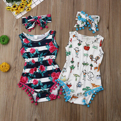 Newborn Infant Baby Girl Flower Romper Bodysuit Jumpsuit Outfit Clothes 0-24M