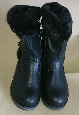 Girls Snow Boots Leather Look High Ankle Fur Lined - UK 6 - BLACK - REF 0555-1