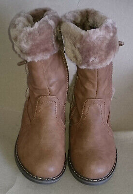 Girls Snow Boots Leather Look High Ankle Fur Lined - UK 8.5 - CAMEL - REF 0222-1