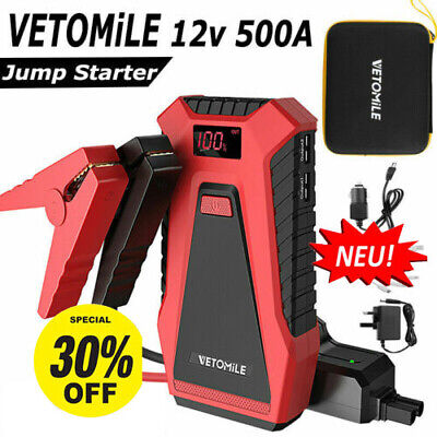 Portable Car Jump Starter 12V 500A 12000mAh Auto Battery Booster Car Charger UK