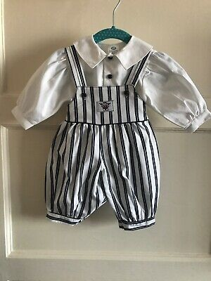 Adorable Boots Vintage Boys Sailor Dungarees Outfit Set 0-3 Months 1990s Balloon