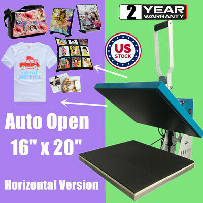 "16"" x 20"" Auto Open Clamshell Heat Press Machine Horizontal Version Sublimation"