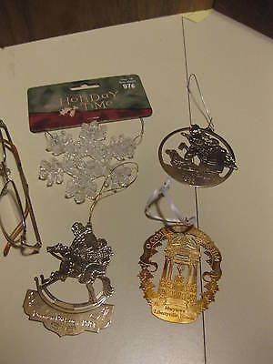 Four Misc. Christmas Ornaments 3 Metal 1 Plastic Two Are Norman Rockwell