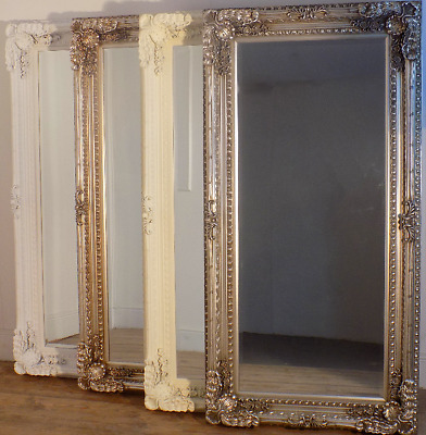 Large Louis Leaner Ornate Carved French Antique Style Frame Wall Mirror Silver