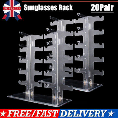 2x 2 Row 10 Pairs Sunglasses Glasses Rack Holder Frame Display Stand Transparent