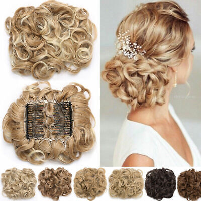 LARGE THICK Curly Chignon Messy Bun Updo Clip in Hair Piece Extensions