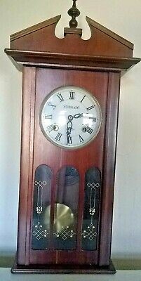 Antique wooden Laurain windup wall clock - 31 day windup