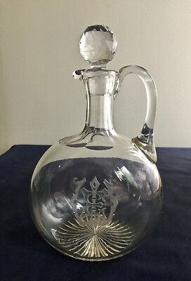 Antique Decanter Cut Glass Hand Blown Engraved Monogram
