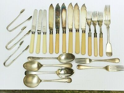Job Lot Of Antique / Vintage Silver Plated Cutlery / Sugar Tongs / Fish Forks