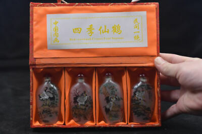 "4pc Chinese folk Inside painting ""Si Chun Tu"" glass snuff bottle"