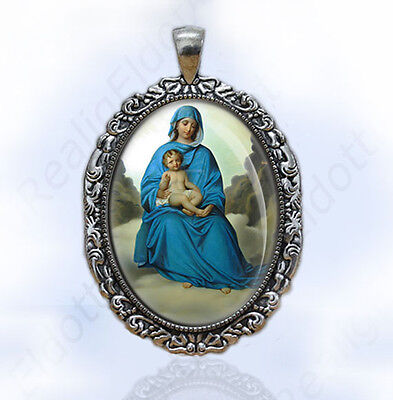 Blessed Virgin Mary in Blue w Baby Jesus Catholic Medal Antique Silver Pendant