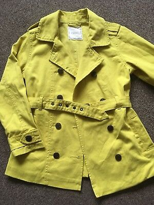 Girls Lime Green Button Up Coat Mac Jacket Age 7 Years By Next