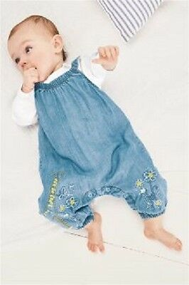 NEXT Babies Denim Dungaree 2 Piece Vest Set Giraffe 9-12 18-24 Months BNWT