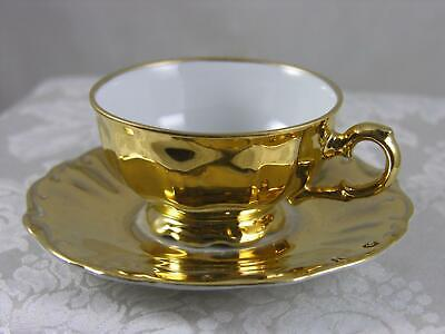 Bareuther Bavaria 1931-50 gold demitasse cup & embossed, scalloped saucer