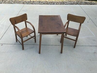 Antique Solid Wood Child's Table And 2 Chairs Set