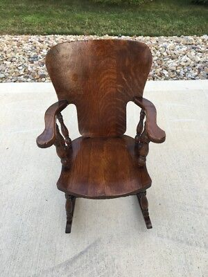 Antique Solid Oak Child's Rocker Rocking Chair