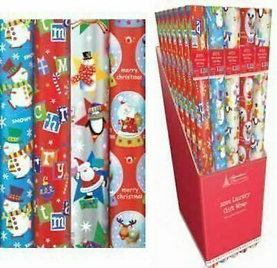 4 x 10m Christmas Gift Wrap Roll Kids Wrapping Paper Xmas Presents
