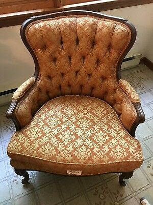 Vintage Matching Pair of Moore Furniture Inc with Mahogany trim chairs.