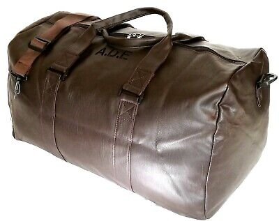 Personalised Faux Leather PU Holdall Duffle Bag Luggage Travel Weekend sports
