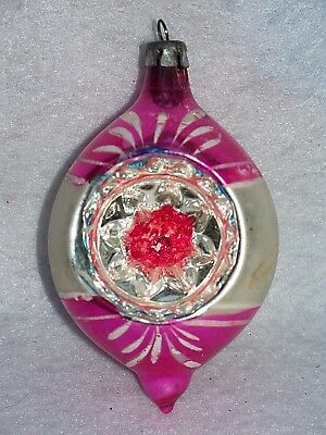 Vtg Pink Poland Hand Painted Mercury Glass Indent Teardrop Christmas Ornament