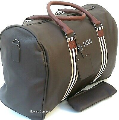 Personalised Leather PU look Weekend Bag Travel Holdall Luggage Duffle Sport Gym