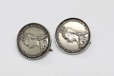 A Stunning Pair of Antique Victorian C1887 Converted Jubilee Coin Earrings