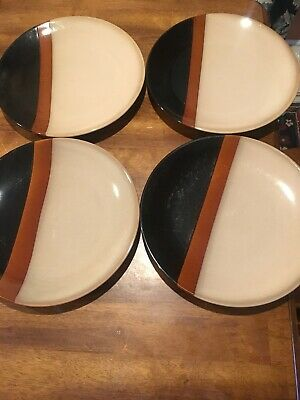 Set Of 4 Sango Tempo Black Dinner Plate Vgc