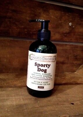SPORTY DOG -HERBAL CLEANSE & SHINE SHAMPOO-PURE & NATURAL- By NAKED HORSE-250ml